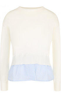 Пуловер с круглым вырезом и контрастной оборкой Blugirl