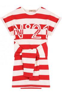 Хлопковое мини-платье в полоску с декоративным поясом No. 21