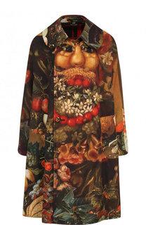 Двубортное пальто свободного кроя с принтом Comme des Garcons