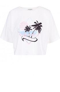 Укороченная хлопковая футболка с принтом Saint Laurent