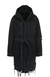 Удлиненная джинсовая куртка с поясом и капюшоном Denim X Alexander Wang