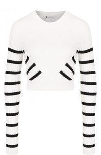 Укороченный вязаный пуловер из хлопка T by Alexander Wang