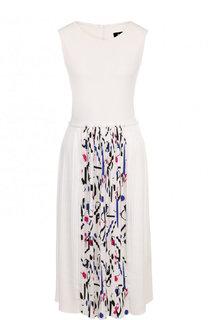 Приталенное платье-миди с плиссированной юбкой DKNY