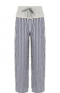 Широкие хлопковые брюки в полоску T by Alexander Wang