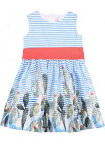 Хлопковое мини-платье с широким поясом и принтом Il Gufo