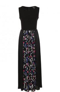 Платье-макси с плиссированной принтованной юбкой DKNY