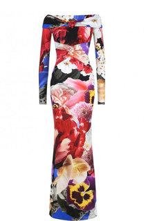 Приталенное платье-макси с цветочным принтом и открытыми плечами Roberto Cavalli