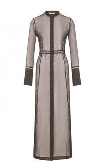 Полупрозрачное платье-рубашка из смеси хлопка и шелка Isabel Benenato