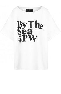 Хлопковая футболка свободного кроя с контрастной надписью 5PREVIEW
