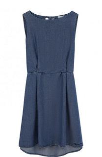 Мини-платье с эластичной вставкой на поясе и декоративной отделкой на спине Armani Junior