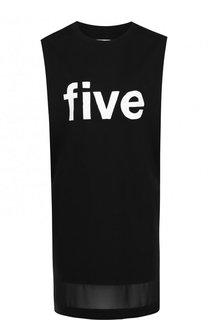 Мини-платье прямого кроя с контрастной надписью 5PREVIEW