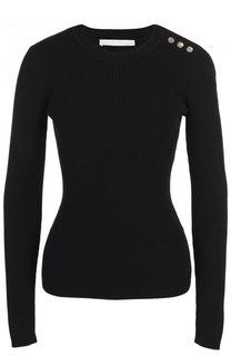 Приталенный шерстяной пуловер в полоску BOSS