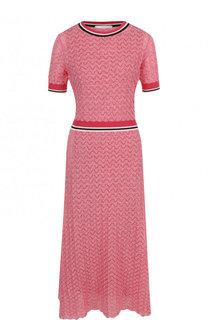 Приталенное вязаное платье-миди с коротким рукавом BOSS