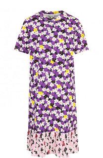 Хлопковое мини-платье с цветочным принтом Kenzo