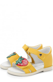 Кожаные сандалии с застежками велькро и аппликацией Falcotto