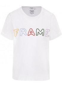 Хлопковая футболка свободного кроя с контрастной вышивкой Frame Denim
