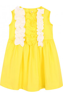 Хлопковое платье с поясом и оборками Il Gufo