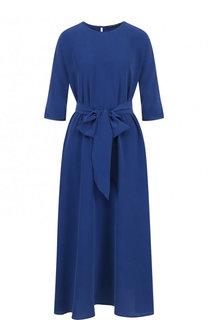 Однотонное шелковое платье с круглым вырезом и поясом Victoria Andreyanova