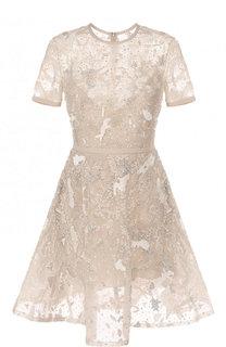 Приталенное мини-платье с вышивкой Elie Saab