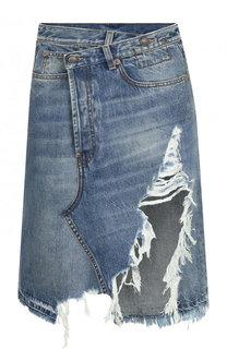 Джинсовая юбка-миди с потертостями R13