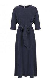 Однотонное шелковое платье-миди с поясом Victoria Andreyanova