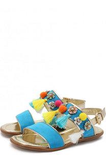 Замшевые сандалии на ремешке с кисточками и декором Missouri