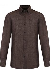 Льняная рубашка с воротником кент Ermenegildo Zegna