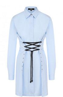 Приталенное хлопковое мини-платье с контрастной шнуровкой Versus Versace