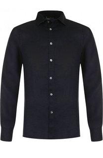 Льняная рубашка с воротником кент Emporio Armani