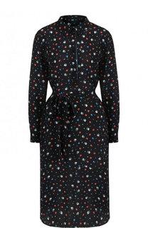Шелковое платье-рубашка с поясом и принтом Poustovit