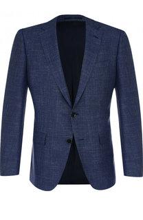 Однобортный пиджак из смеси шелка и кашемира с шерстью BOSS