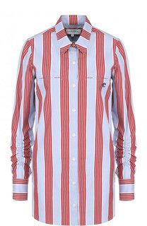 Хлопковая блуза свободного кроя в полоску Carven