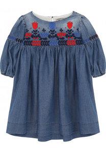 Мини-платье свободного кроя с вышивкой Ermanno Scervino