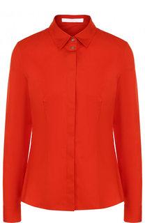 Однотонная приталенная блуза из шелка BOSS