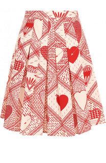 Хлопковая мини-юбка в складку с принтом REDVALENTINO