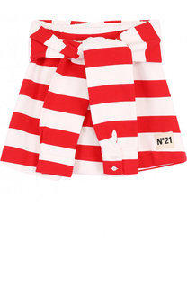 Хлопковая мини-юбка в полоску с декоративным поясом No. 21