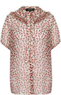 Шелковая блуза с принтом и воротником аскот Rochas