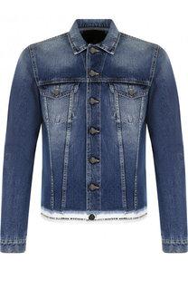 Джинсовая куртка на пуговицах с контрастной отделкой Frankie Morello