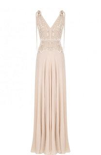 Приталенное шелковое платье-макси с вышивкой Elie Saab