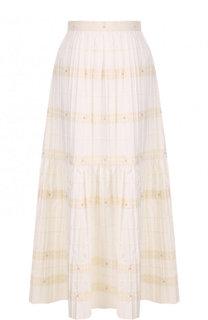 Хлопковая юбка-миди с широким поясом REDVALENTINO