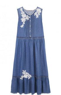 Платье-миди свободного кроя с вышивкой Ermanno Scervino