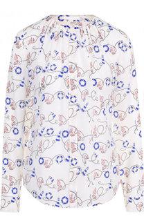 Шелковая блуза свободного кроя с принтом BOSS