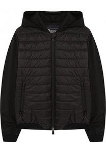 Стеганая куртка с капюшоном и текстильными рукавами Herno
