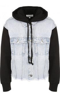 Джинсовая куртка с контрастными рукавами и капюшоном Current/Elliott