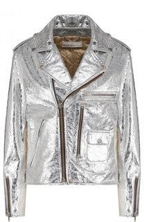 Укороченная кожаная куртка с косой молнией Golden Goose Deluxe Brand