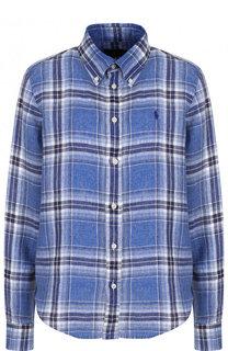 Льняная блуза свободного кроя в клетку Polo Ralph Lauren