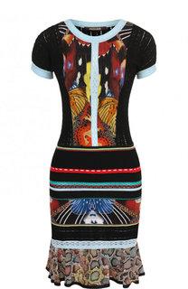 Приталенное вязаное мини-платье с круглым вырезом Roberto Cavalli