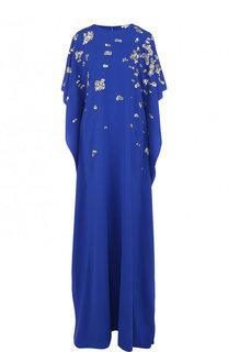 Шелковое платье-макси с вышивкой пайетками Oscar de la Renta