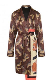 Пальто из вискозы с поясом и принтом Dries Van Noten