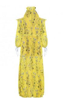 Плиссированное платье-макси с принтом и разрезами на плечах self-portrait